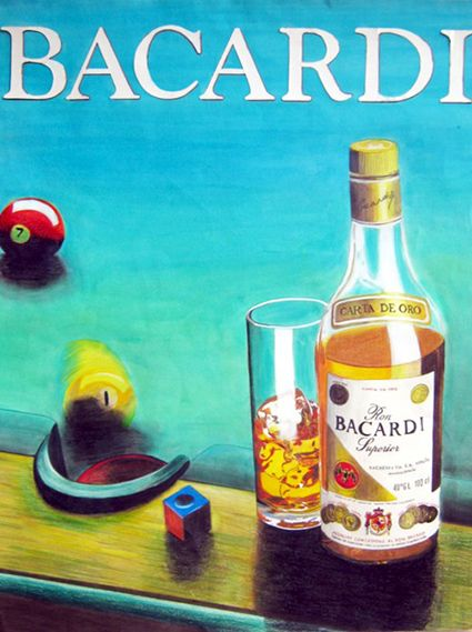 Illustration Bacardi Aquarell, Farbstifte und Tempera