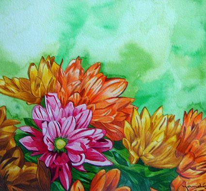 Illustration Blumen Aquarell und Farbstifte