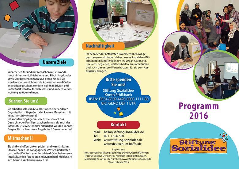 Broschüre Programm 2016 Stiftung Sozialidee