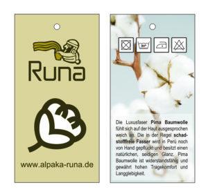 Etikette Alpaka Runa Kleider aus Peru