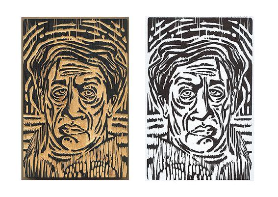 Holzschnitt Schnitzwerk und Druck Tallado e impresión