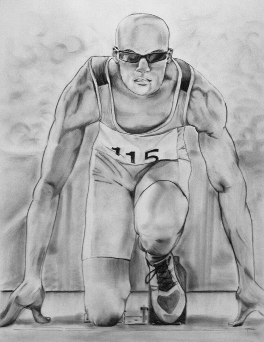 Läufer Kohlezeichnung / dibujo a carbón