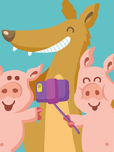Grafik: Wolf und die drei kleinen Schweinchen beim Selfie