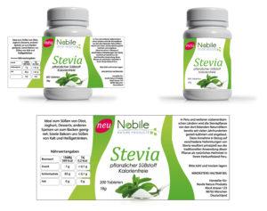 Etikette pflanzlicher Süßstoff Stevia