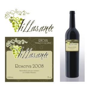 Logo Design & Etikett Wein Villasante, Exklusiver Hauswein