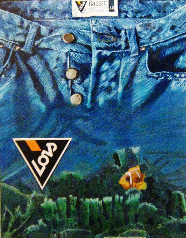Illustration Jeans Lois Aquarell, Farbstifte und Tempera
