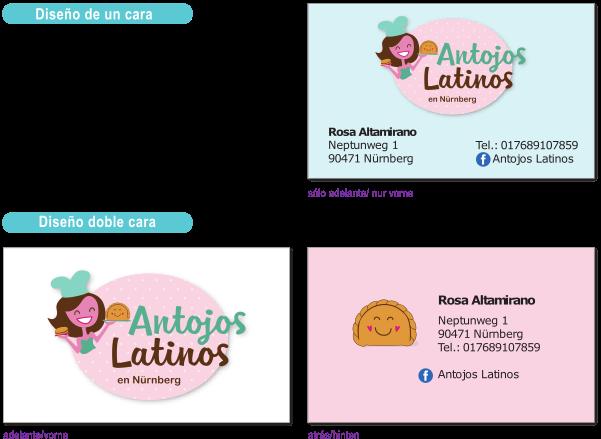 Ejemplo de diseños para tarjeta personal Antojos Latinos